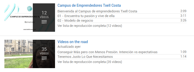 Vídeos en Youtube de Txell Costa Group